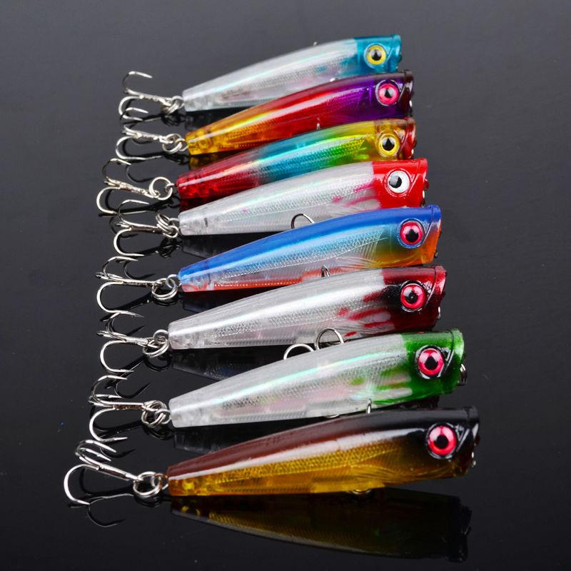 Topwater Floating Sea Bass Crankbait Lure Poper Fishing Hooks Bait 6.5cm 6.6g pesca minnow PS Painted Plastic baitfish