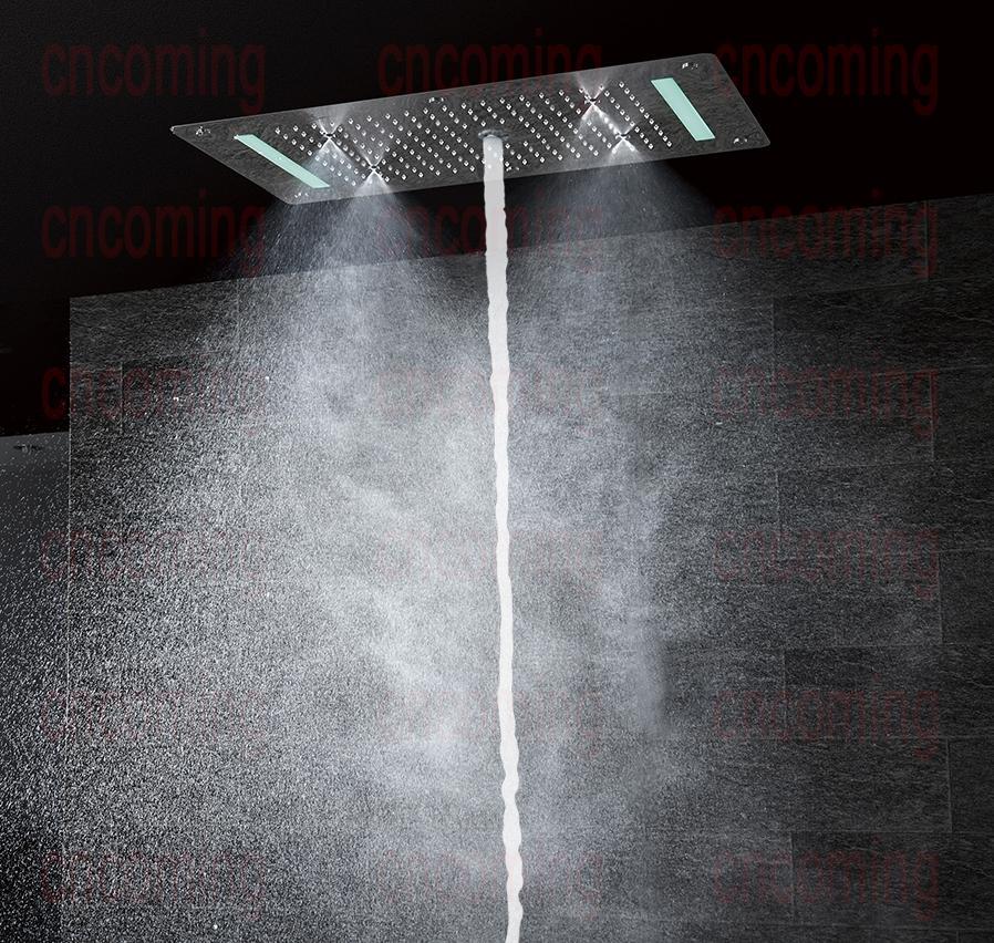 panel de acero inoxidable montaje en pared alcachofa de ducha grifo de mano sistema de ducha Columna de ducha con termostato color plateado lluvia cascada