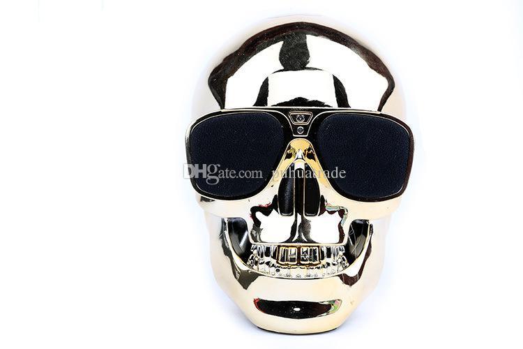 Creative Plastic Metallic Skull Shape Wireless Bluetooth Speaker Sunglass NFC Skull Speaker Mobile Subwoofer Multipurpose Speaker Cool