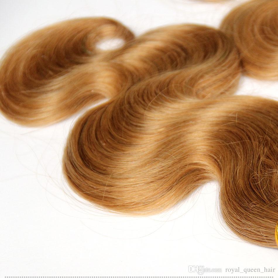 허니 블론드 27 # 브라질 버진 인간의 머리카락 번들 페루인 말레이시아의 인도 유라시아어 러시아어 바디 웨이브 헤어 익스텐션 더블 Wefts