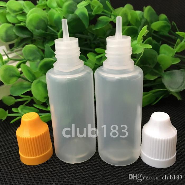 Hochwertige LDPE E Flüssigkeit Flasche mit Kindersicherung Cap und lange dünne Spitze 20ml auf Lager leeren Plastiktropfflasche