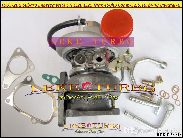 Toptan Yeni TD05 20G 8 TD05-20G TD05-20G-8 SUBARU Impreza WRX STI EJ20 EJ25 MAX 450HP Turbo Turbo Için Contalar + Boru uydurma