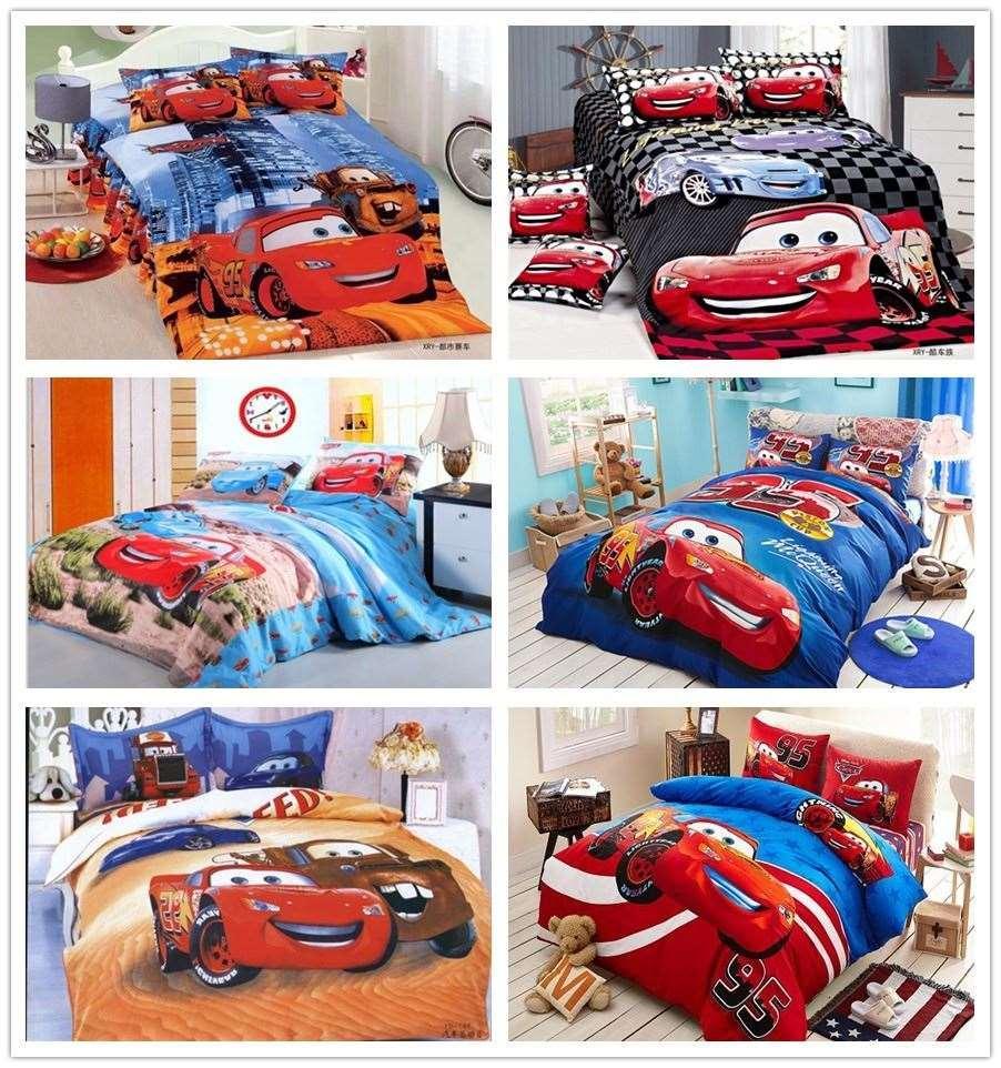 Kids Cars Lightning Mcqueen Bedding Bed Linen Set 4 Pieces With Cartoon Duvet Comforter Cover Flat Sheet Pillowsham Home Textile