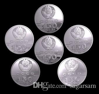 , New 6 different designs The Russia history 150 Rubles real silver plated souvenir coin set gift