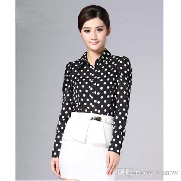 New Fashion Women Polka Dots Chiffon Bodysuit Blouse Long Sleeve Shirts OL Slim Blouses Clothes S/M/L/XL