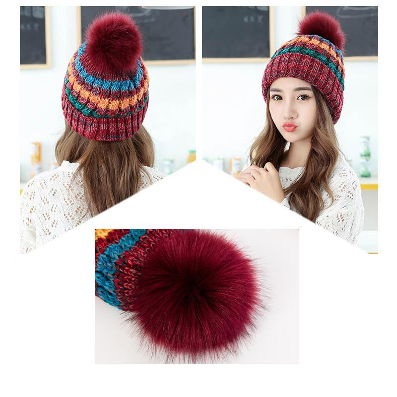 Fashion Mix Color Fur Pompons Hat Women s Winter Warm Hat Beanies ... 9ddd483b9d30