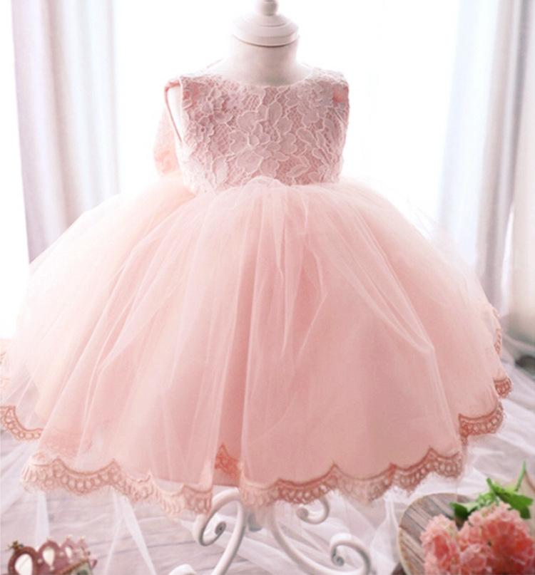 Childrens Day Party Dress Girl Dresses Ball Gown Pink Lace Bow