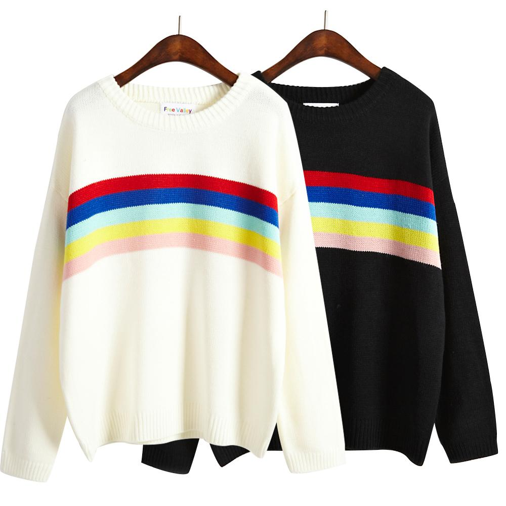 2018 Wholesale Women Harajuku Cute Multicolour Stripe Basic Pullover Pull Over Sweater Female Kawaii Korean Knitted Thick Loose Jumper From Berniee 4206 Dhgate