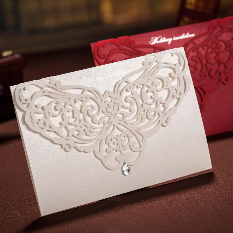 Elegant Wedding Invitations With Diamond White Laser Cutting Flower ...