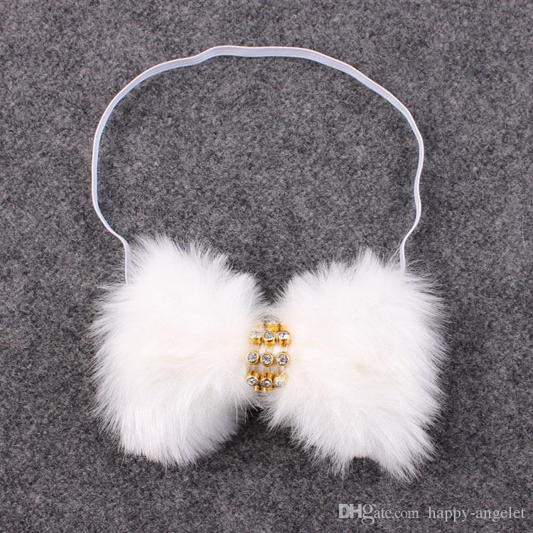 New Baby Rabbit Fur bow Headband for Infant Girl Hair Accessories Elegant FUR bows clip hair band Newborn Photography Prop YM6105