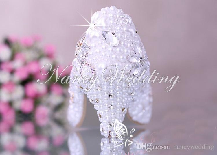 Lussuoso elegante imitazione perla festa di nozze scarpe da ballo scarpe da sposa scarpe con tacco basso diamante di cristallo scarpe da donna Lady Dress