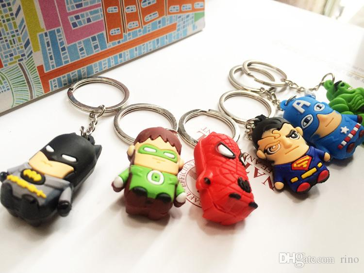 The Avengers Figures Keychain Toys Batman Superman Iron Man Thor Spiderman Captain America PVC Toys PVC Pendants Cartoon Key chains
