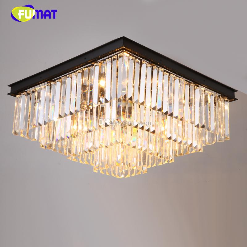 Fumat American Crystal Ceiling Lamp For Living Room Luxury Rectangle