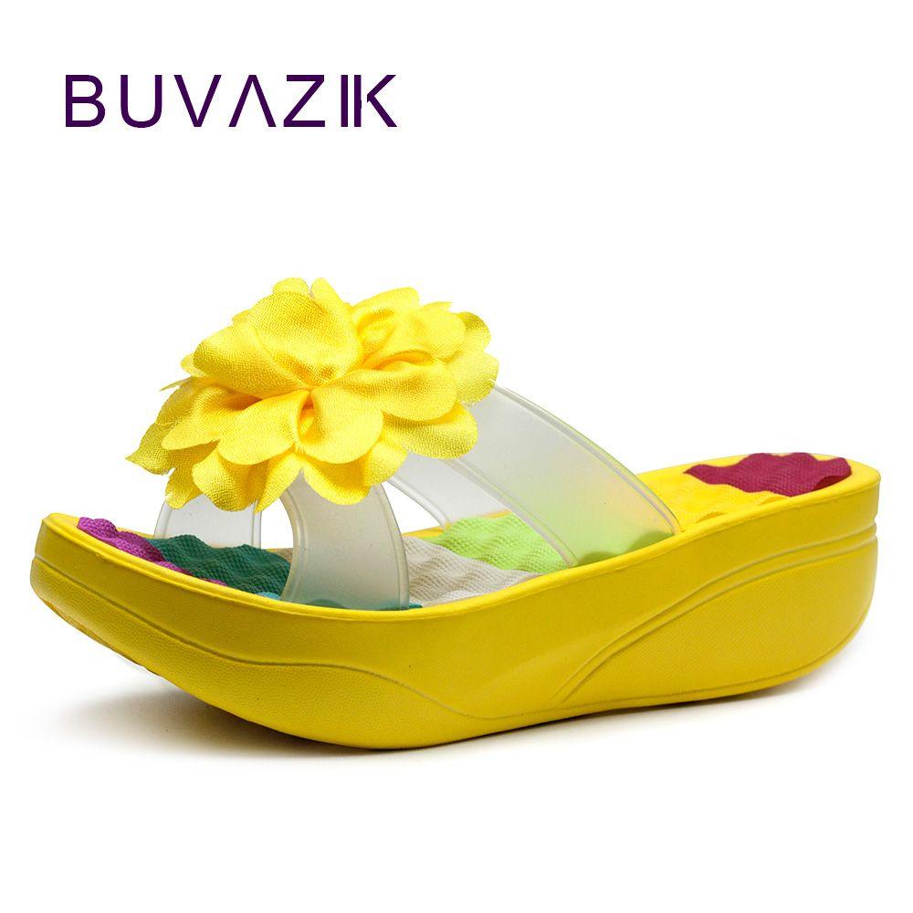 2017 fashion swing women's shoes summer female slippers flower platform wedges flip flops high heels footwear flowers