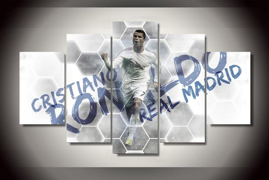Best 5 Panel No Framed Printed Cristiano Ronaldo Painting