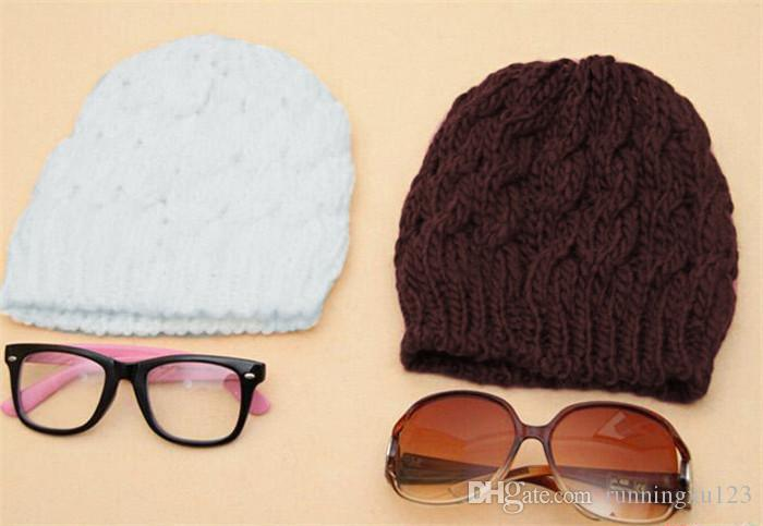 210 adet SıCAK satış sıcak şapka Kadın Örgü Kış Sıcak Tığ Şapka Örgülü Baggy Bere Bere Kap D471
