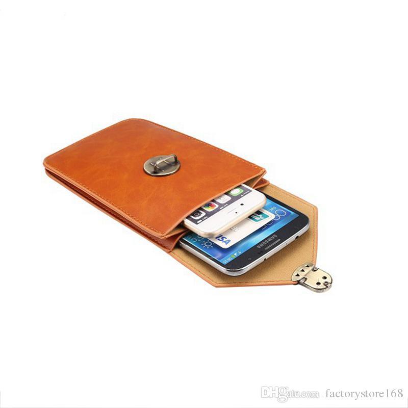 Hommes Femmes Sport Taille Pack Poche Sac À Main Sac En Cuir PU Téléphone Portable Côté Poche Taille Sac avec Mousqueton Crochet pour iPhone 5.7 pouce