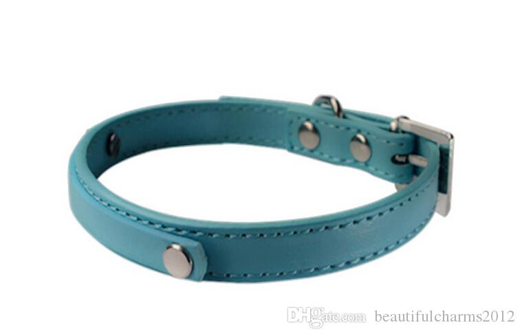 Commercio all'ingrosso / pelle PU in pelle personalizzata cani da compagnia cani o gatti con barra di scorrimento da 10 mm lettere di scivolo 10mm