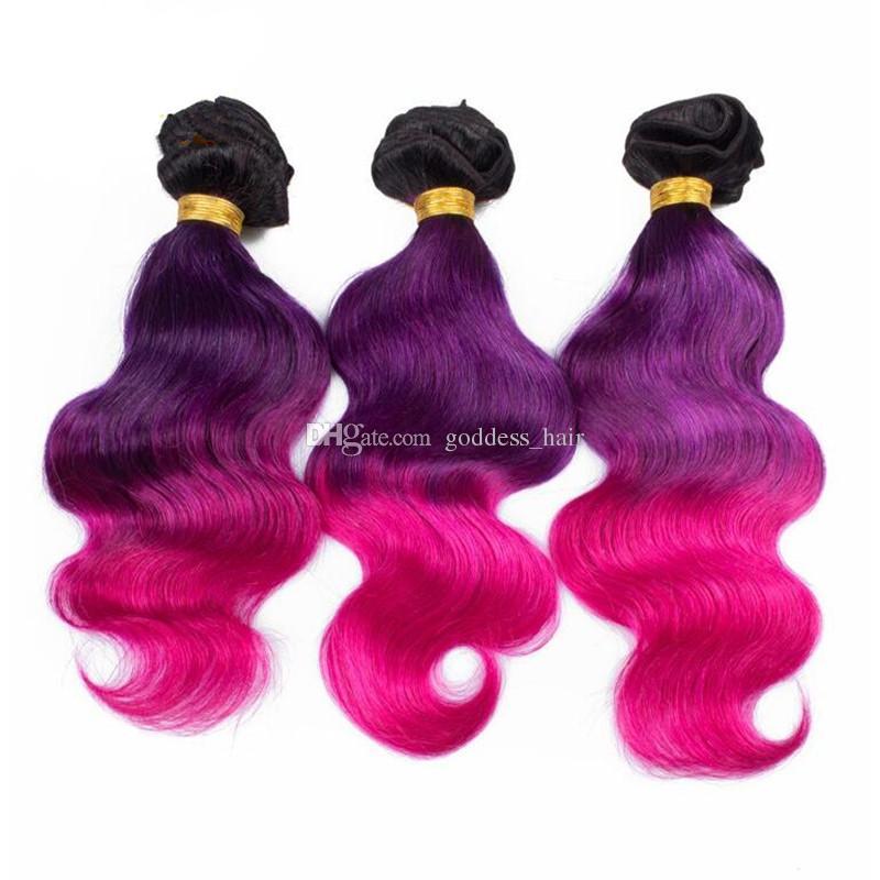 Ombre Color 1B Purple Pink Hair 3Bundles Con encaje Frontal Cierre Top Lace Frontal 13x4 Con Body Wave Virgin Hair Weaves