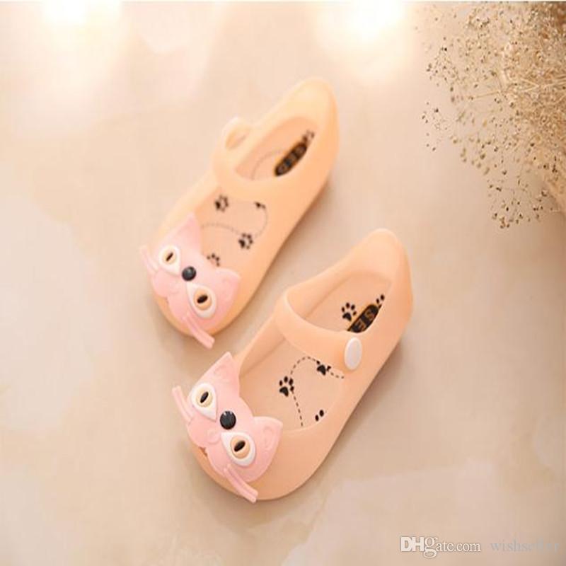 Zomer baby schoenen kinderen meisje sandalen zoete kat gesp riem platte plastic sandalen kinderen schoenen jelly schoenen