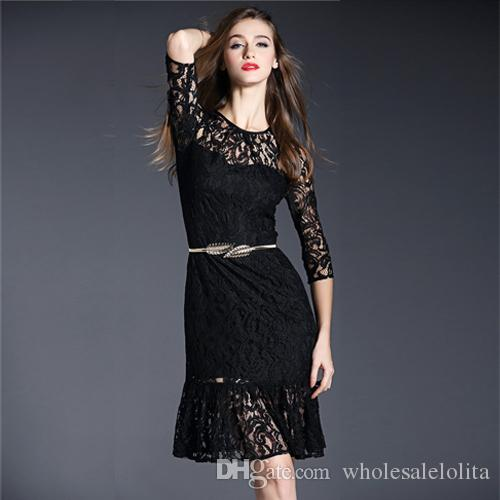 1c3644ec21 Free Shipping Women's Dresses Sexy Fashion One-piece Girls Dress Western  Fashion Early Spring Black/Green Lace Mermaid Dress