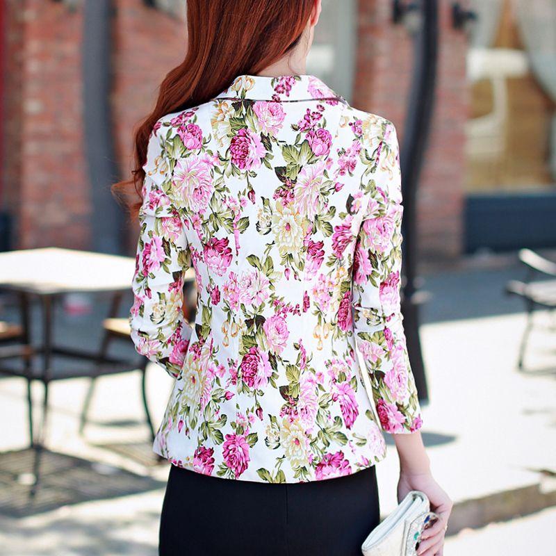 Bayan kısa ince mizaç takım 2018 Bahar moda çiçekler baskı küçük takım elbise kadın blazers ve ceketler bayan blazer ceket