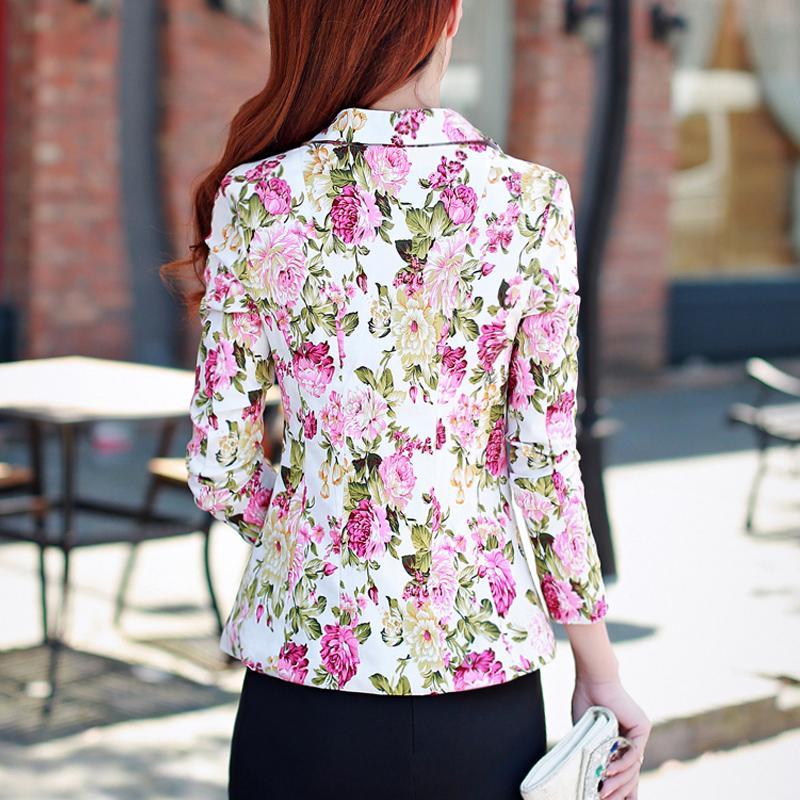 Para mujer corto delgado traje de temperamento 2018 flores de moda de primavera imprimir pequeños trajes mujeres blazers y chaquetas para mujer chaqueta blazer