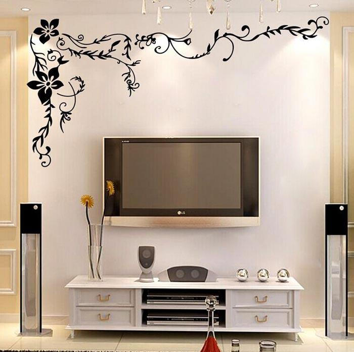 Flower Vine Wall Stickers Flowers Home Decor Large Paper Flowers Living Room  Bedroom Wall Decor Sticker On The Wallpaper Poster Home Decor Wall Sticker  Home ...