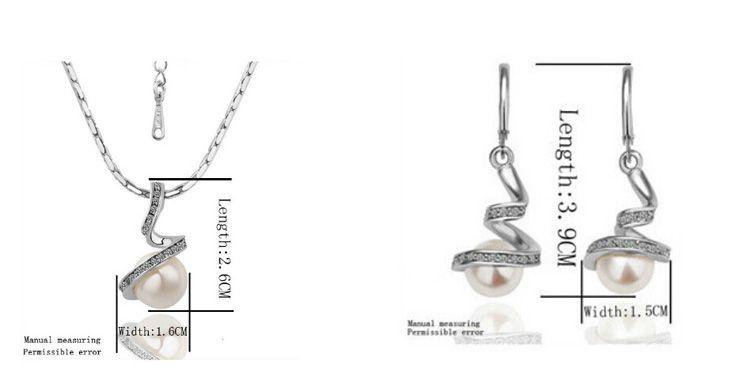 18K 골드 도금 진주 목걸이 귀걸이 세트 여성을위한 나선형 진주 트위스트 뱀 모양의 보석 세트 패션 쥬얼리 1025