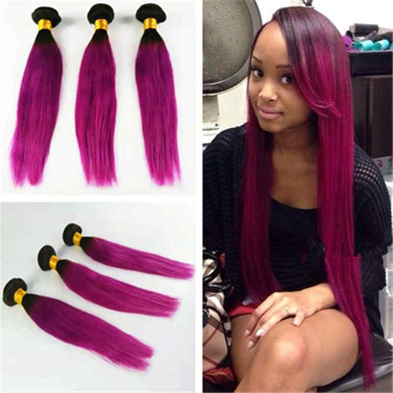 Ombre Brazilian Hair Straight Weave 1b Pink Two Tone Ombre Hair