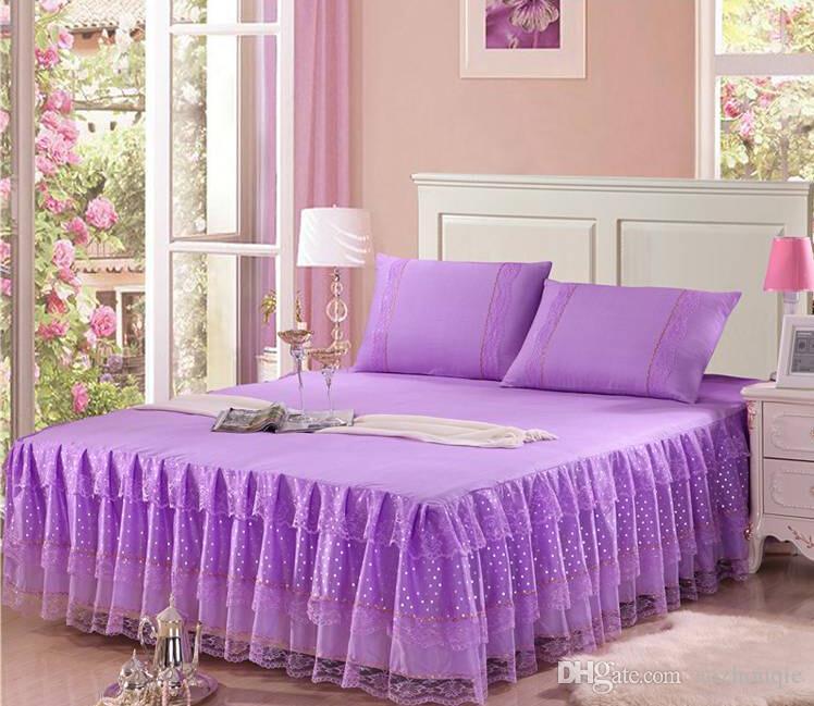 En gros pas cher dentelle princesse lit chemise rose violet rouge begie belle dentelle mariage literie fournitures livraison gratuite