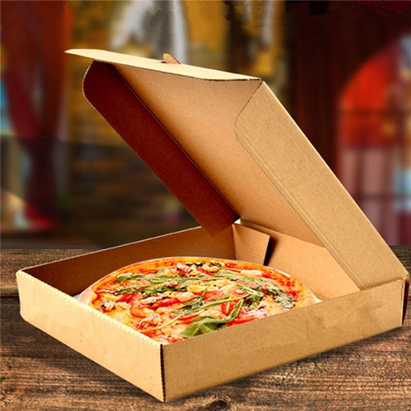 Pizza Boxes Folding Food Packing Takeaway Pancake Cowhide Kraft ...