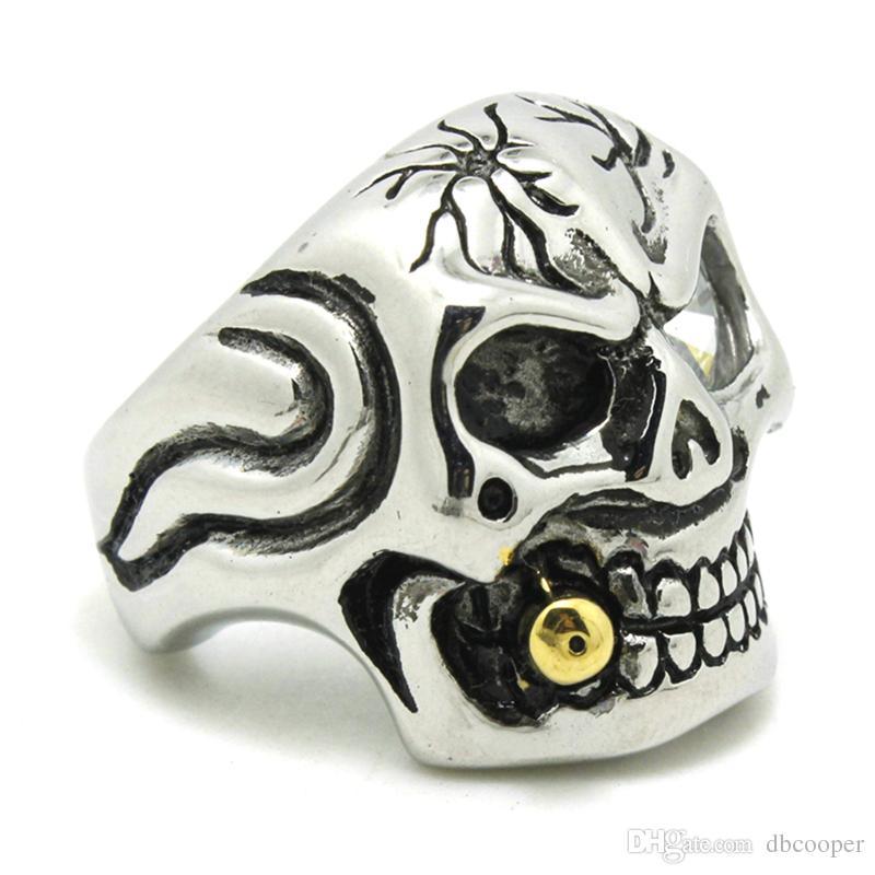 Aço Inoxidável 316L Mens Evil Skull Ring Mens Mens Anel de Crânio de Alta Qualidade Olho de Cristal Atacado 4 pçs / lote