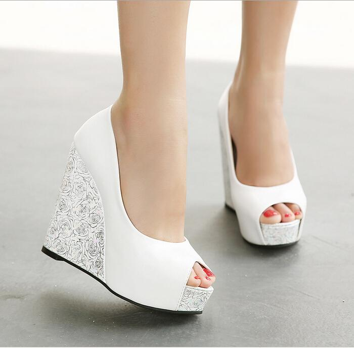 In Stock 2016 Cheap High Wedge Heel White Blue Bridal Wedding ...