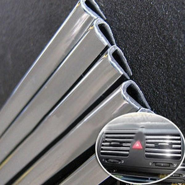 2msilver Universal U Style DIY Car Interior Air Conditioner Outlet Decoration Strip Vent Grille Chrome Decor Strip order<$15 no trackin