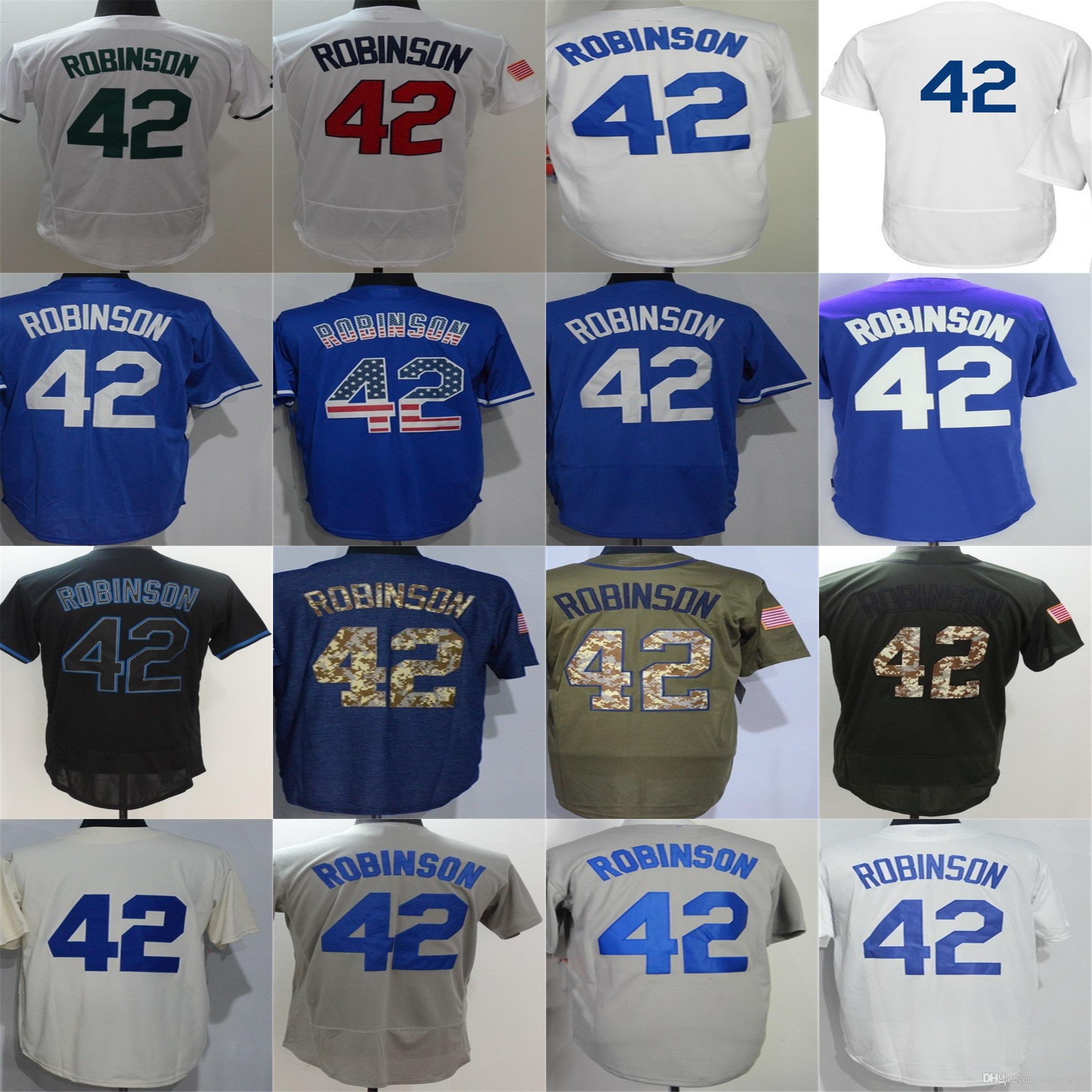 2018 Newest Mens Brooklyn Los Angele 42 Jackie Robinson White 1955  Throwback M&N Dual Patch Jersey Cream Blue Black Green Grey Baseball Jerseys  From ...