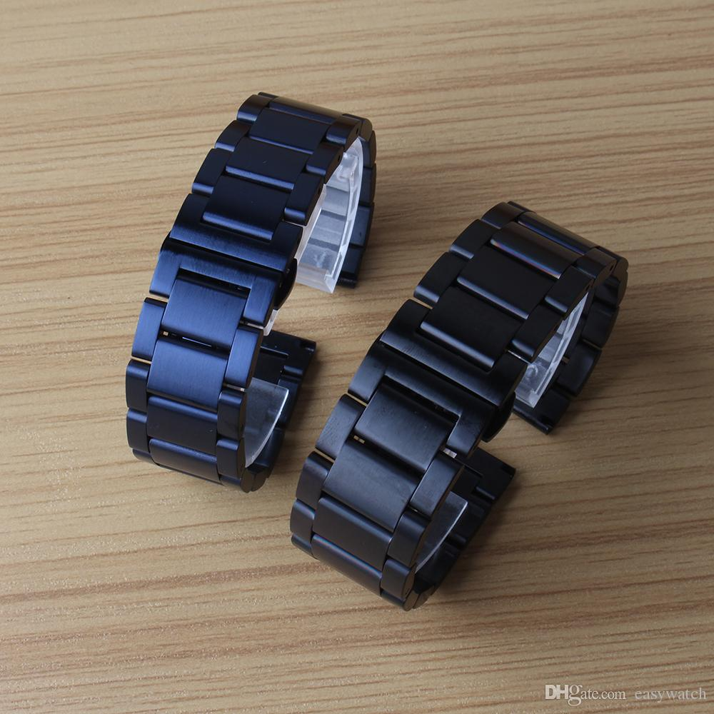 Watchband strap bracelet unpolished stainless steel watch accessories 20mm 22mm black blue color metal new arrival 2018 fashion replacement