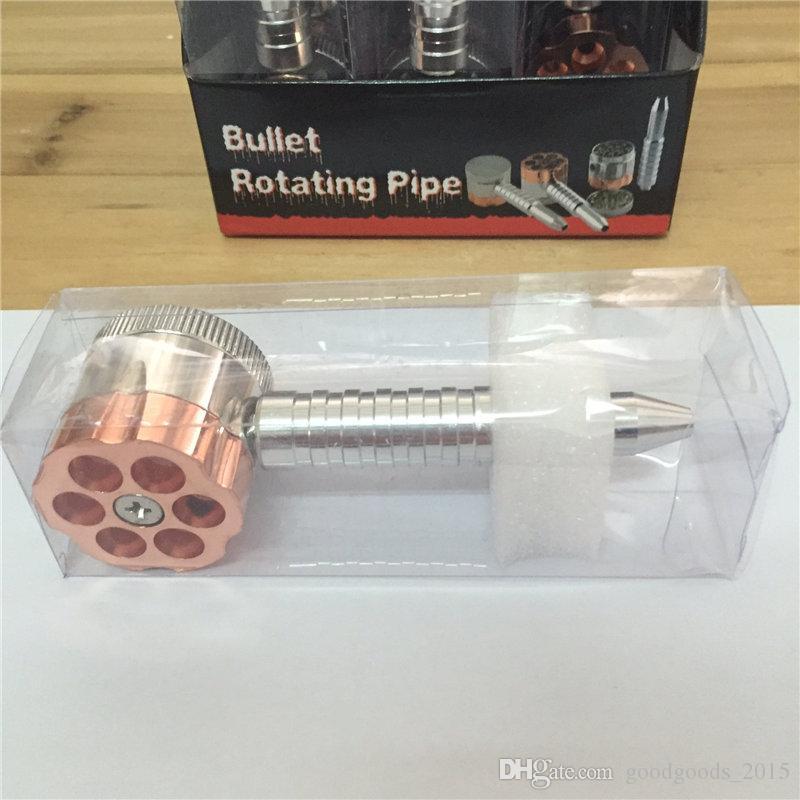 BULLET ROTATING PIPE style tobacco grinder metal herb grinder Smoking Pipe+grinders [SKU:S018]