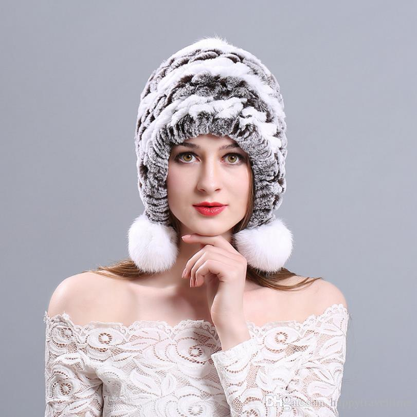 a1e01c3c92552 Womens Winter Warm 100% Real Rex Rabbit Fur Hat Earmuff Pompon Balls Beanie  Cap Womens Winter Warm Hat Rex Rabbit Fur Hat Earmuff Beanie Cap Online  with ...
