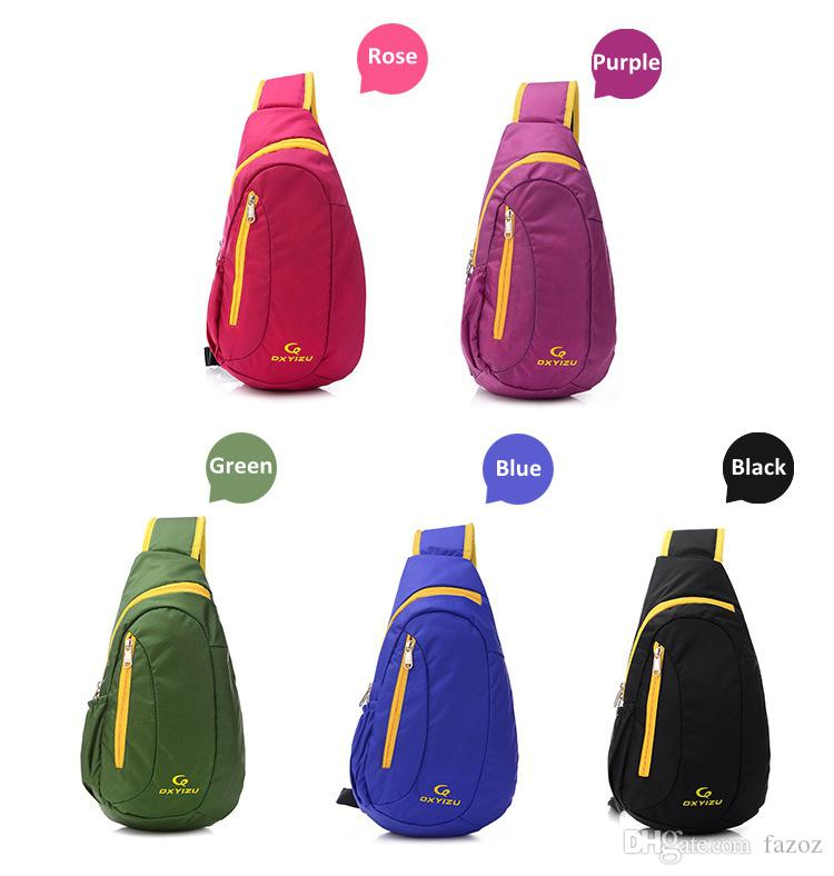 Casual sport women chest bag contrast color waterproof outdoor travel girl sling pack shoulder unbalanced crossbody nylon bag