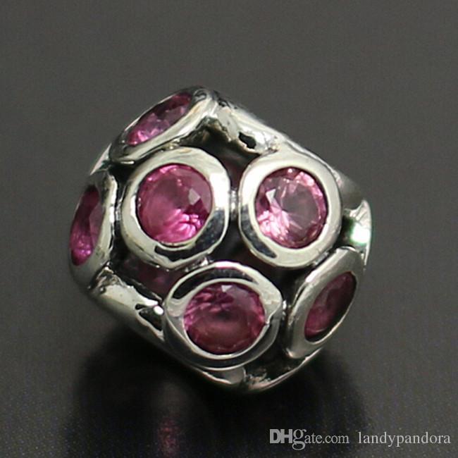Ажурные сверкающие круги S925 стерлингового серебра Шарм шарик с розовым Cz подходит Европейский Pandora ювелирные изделия браслеты ожерелья кулон