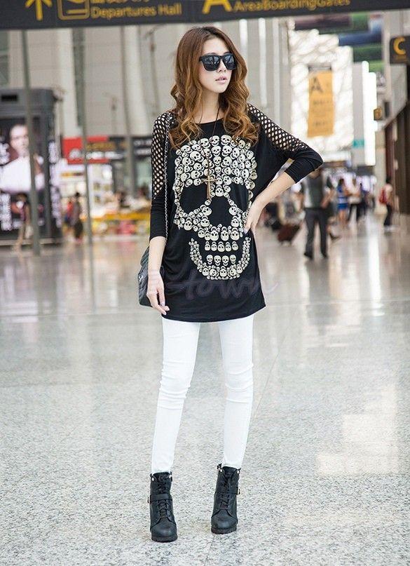 New 2015 Long Print Shirt Women Long Sleeve Skull Printed T Shirts ...