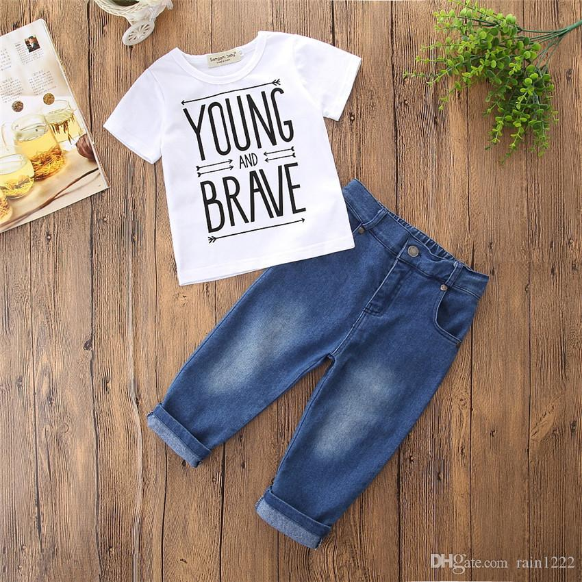 Boys Kids T-shirts Jeans Pants Clothing Sets Summer Short Sleeve Letter Tops Denim Trousers Outfits Children Tees Shirts Pants Suits