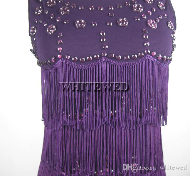 Roaring 20s 1920s Strapless Tassel Fringe Beaded Vintage Gatsby Prom Flapper Style Dress Clothing or Costumes Black Purple Red Blue