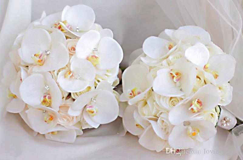 Jane Vini 2018 Elegant Artificial Phalaenopsis Bridal Bouquets For Wedding Ivory Crystal Holder Bridesmaids Brides Holding Flowers Brooch