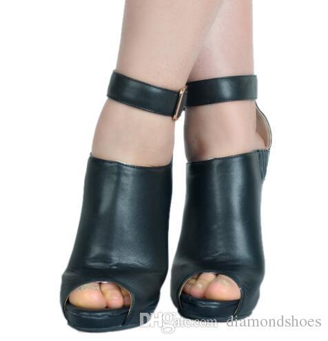 Schwarze Schnalle Mode Ausschnitte High Heels Frauen Schuhe Sexy Reißverschluss Peep Toe Frauen Stiefeletten Plus Größe Frauen Schuhe