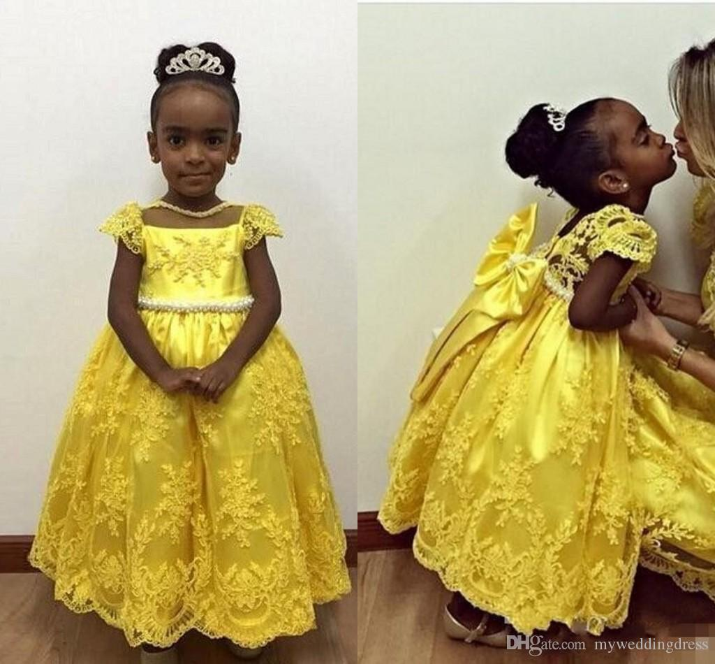 New Yellow Lace Little Flower Girl Dresses Short Sleeves Baby 2016