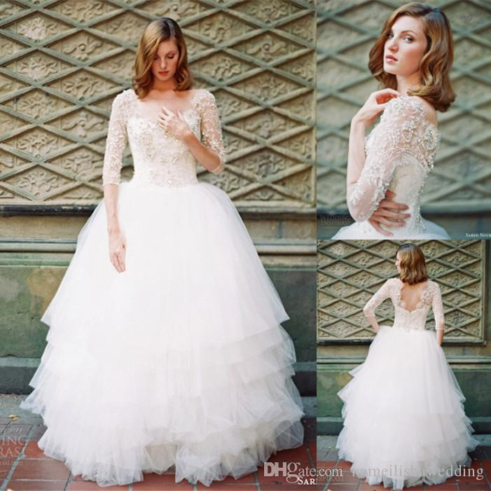 Ball Gown Long Sleeve Beaded Crystal Applique Watteau: Vintage 2015 Lace Applique Wedding Dresses Ball Gown 3 4