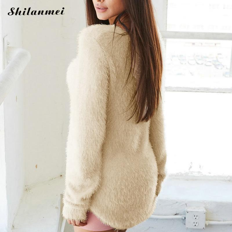 7dd42efef0 2019 Wholesale Cotton Winter Fluffy Sweater Women Pullover Warm Sweater  Sexy Causal Knitwear Jumper Top Pulover Robe Pull Plus Size XL 2017 From  Tayler