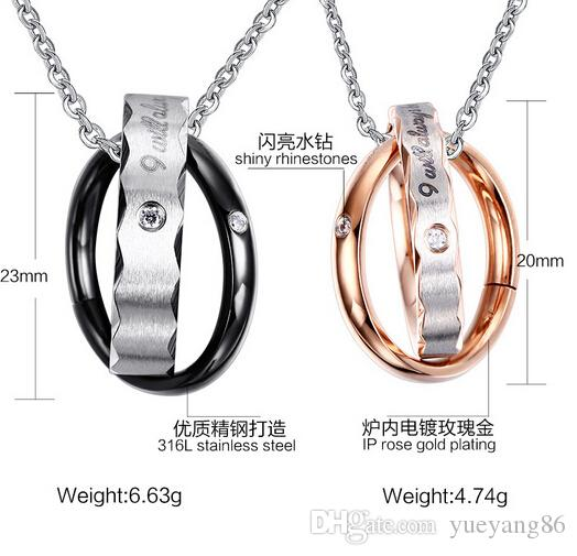 New Arrival Romantic Anniversary Gift For Lover Pair Couple Gifts Stainless Steel Shiny Rhinestones Two Circle Necklace Pendant